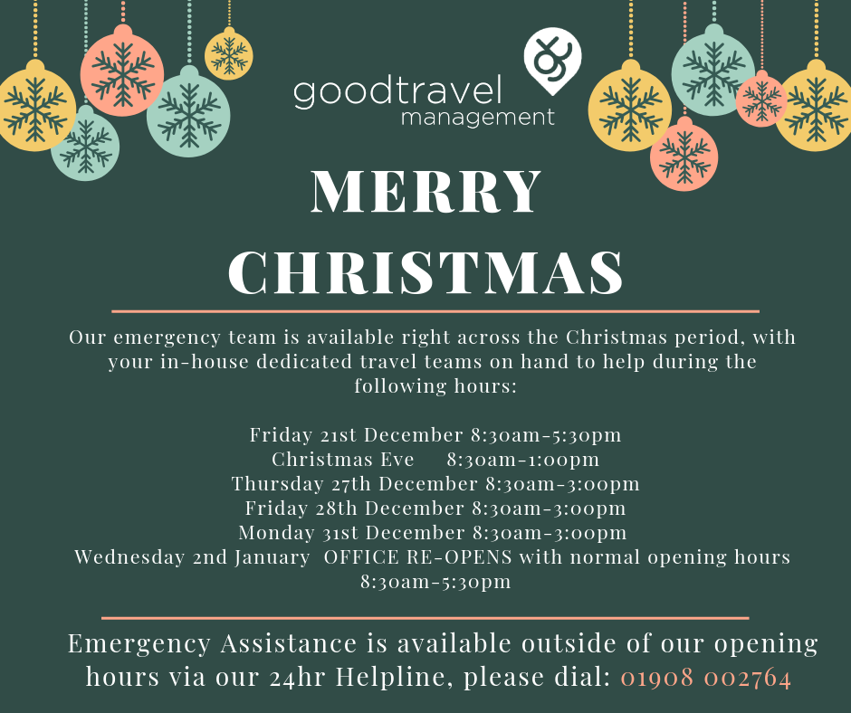 Good Travel Management Christmas Opening Hours 2019