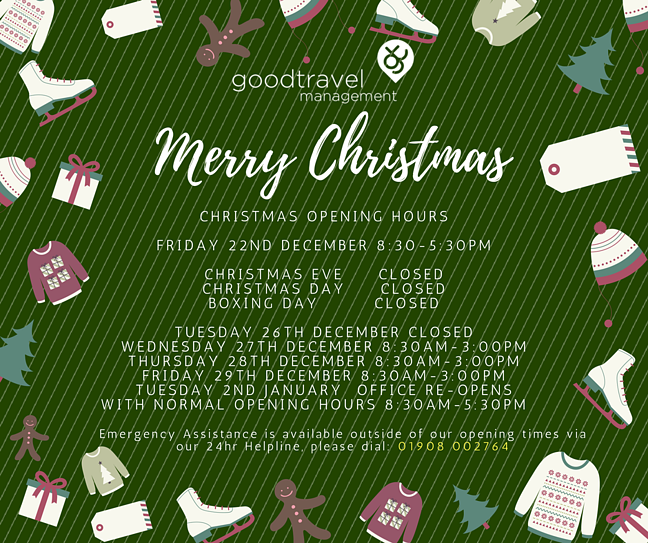 Good Travel Management Christmas Opening Hours 2017