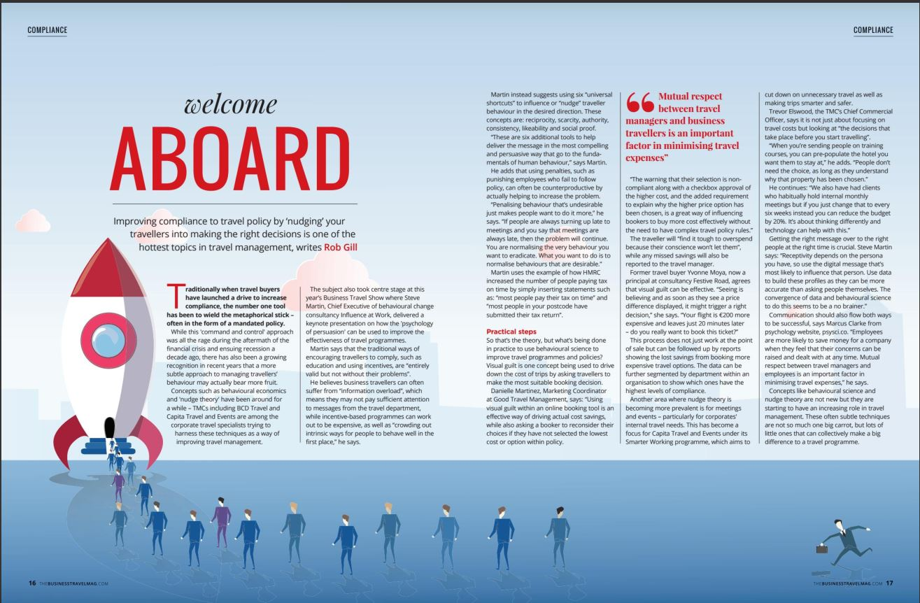 In the Press: Good Travel Management featured in the latest edition of  The Business Travel Magazine talking all things behavioural science.