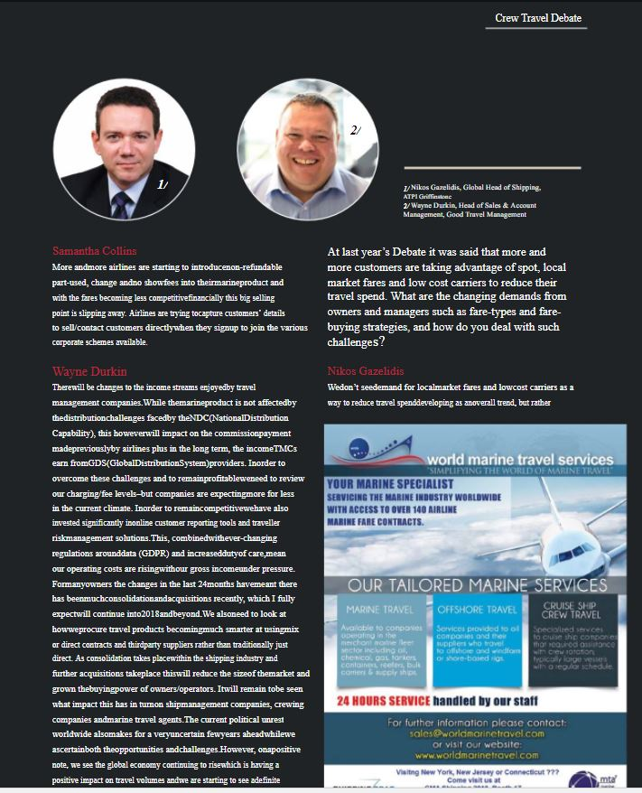 Good Travel Management featured in Ship Management International